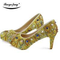Для женщин свадебные туфли на высоком каблуке обувь на платформе с круглым носком желтый роскошный кристалл ручной работы праздничное плат