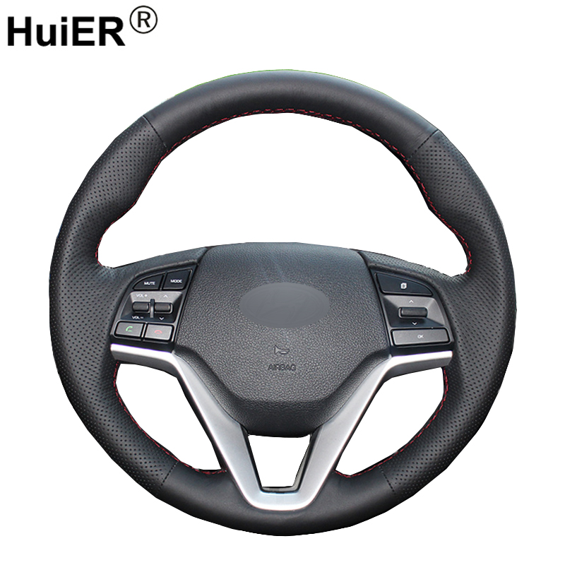 HuiER Hand Sewing Car Steering Wheel Cover Black Leather For Hyundai Tucson 2015 2016 Wear-resistant Automobile Car Styling