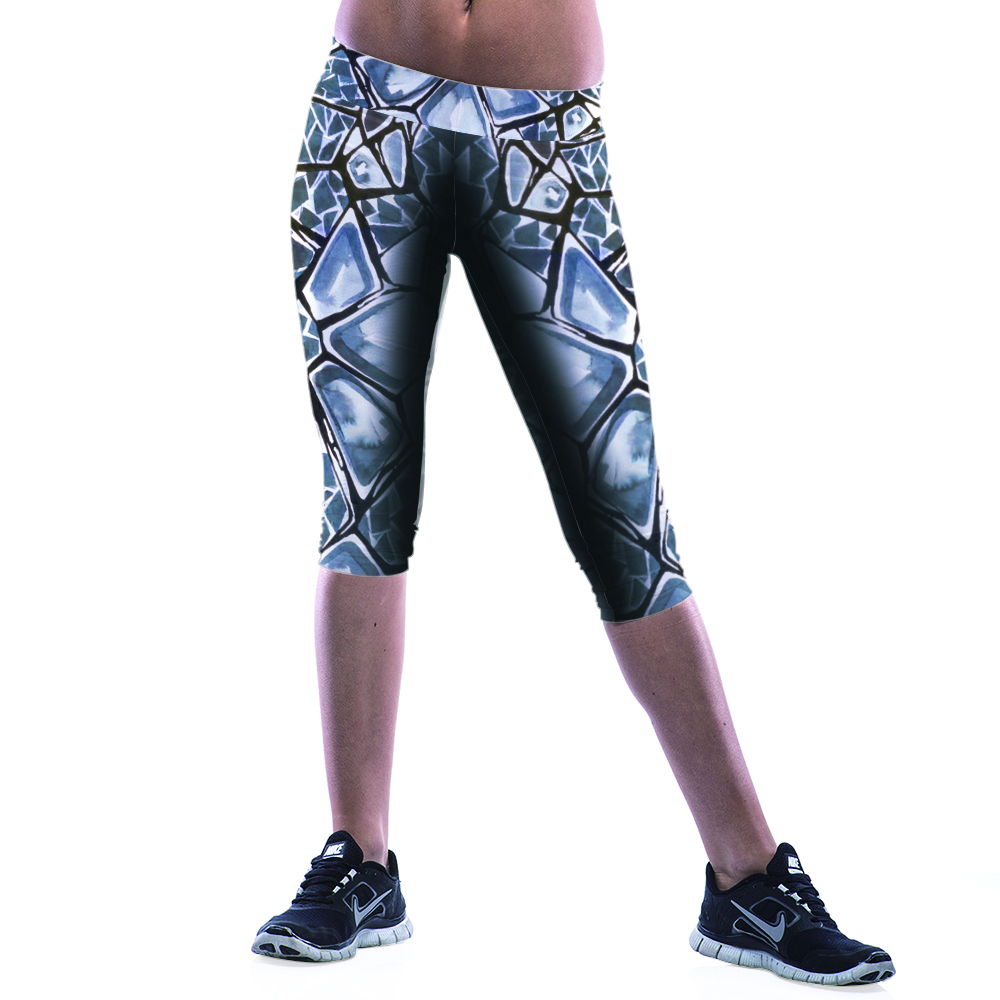stretch Seven points Printing Little Feet Leggings Fitness Movement Yoga Paragraph Breathable Show   Leggings  Square Printing