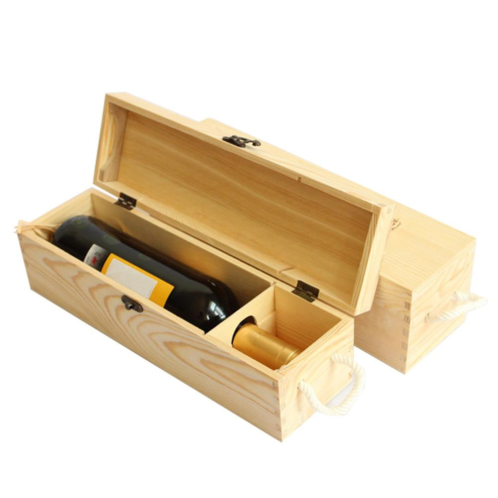Red Wine Wooden Box For Single Bottle Customized Gift Pine ...