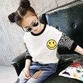 new 2017 girls long sleeve shirt baby spring kids stripe shirt toddler basic shirt children cotton smile pattern shirt,4-14Y