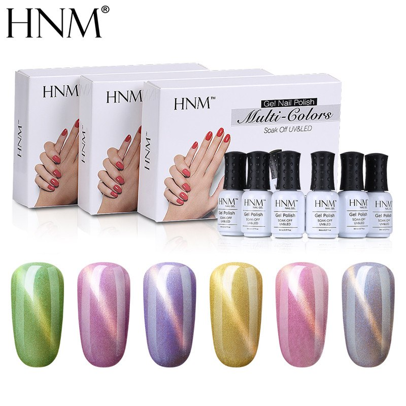 HNM 6Pcs/Lot Cat Eye Series UV Gel Polish Gift Set Hybrid Varnish Lucky Lacquer Kit LED Lamp Gelpolish Painting Enamel Gellak