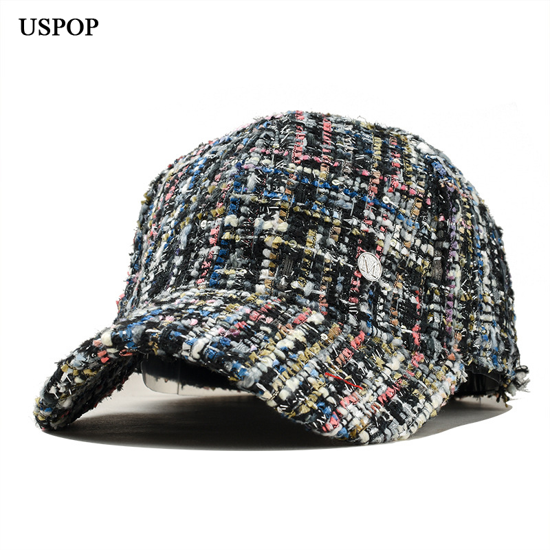USPOP 2019 Hot women fashion tweed   baseball     cap   female casual retro plaid visor   cap   Letter M   baseball     caps