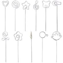"Купить с кэшбэком DIY craft metal 5"" wire memo photo holder clip,clay&cake clamp accessories,flip/hand/heart/loop/star/music/bear/fish/flower/rose"