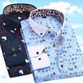 Imprimir hombres camiseta manga larga casual clothing slim fit floral camisa de vestir de los hombres de impresión camisa masculina camisas de los hombres nueva 2017