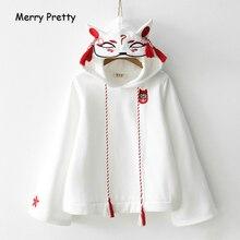 Merry Pretty Women haft w stylu Harajuku bluzy z kapturem z długim rękawem czarny biały bluza ze ściąganym kapturem 2020 słodkie dziewczęce swetry