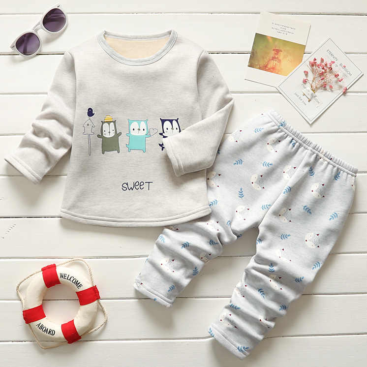 2019 Baru Sweater Set Bayi Laki-laki Anak Olahraga Cocok untuk Anak-anak Pakaian Latihan Yg Hangat Tebal Hangat Pakaian Tshirts + Celana 2 Buah
