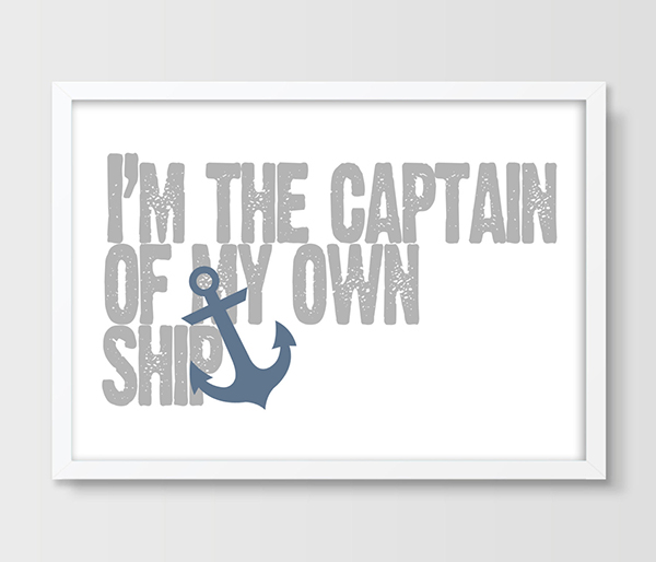 Inspirational motivational quote poster print wall art decor typographic print sign nautical anchor black white print