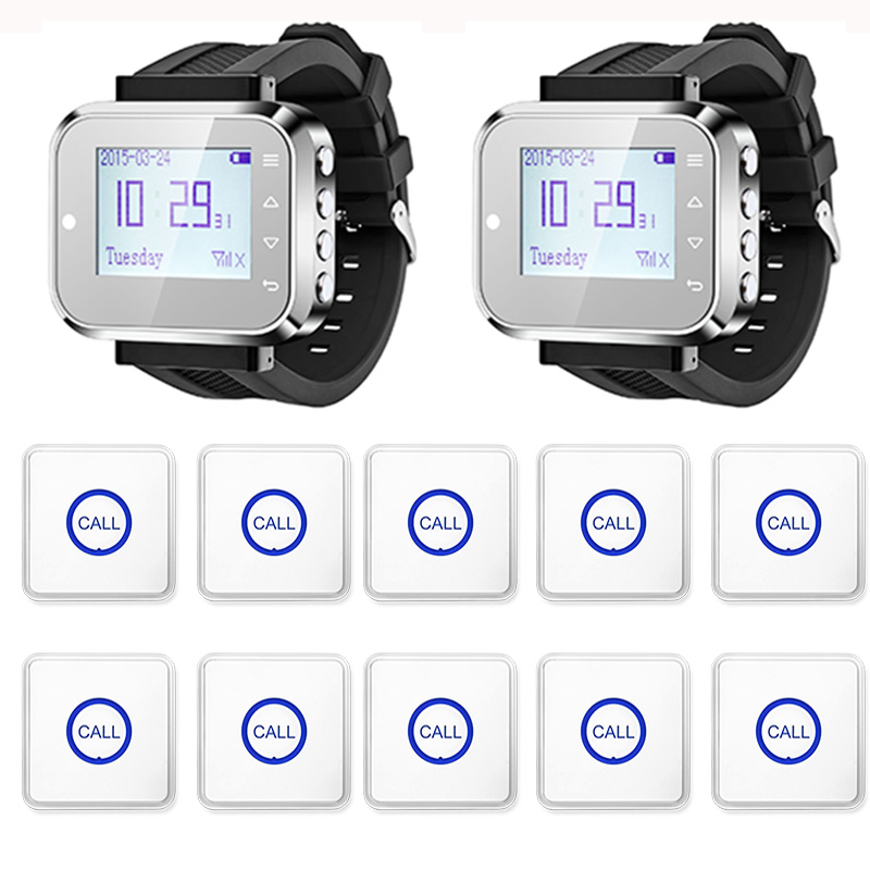2pcs Hot Sale Black Waiter Service Calling System Watch Pager Service System (KR-C166) + 10pcs F86 Wireless Transmitter one set wireless system waiter caller bell service 1 watch wrist pager with 5pcs table customer button ce passed