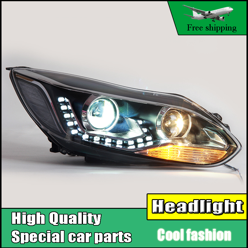 Car styling Head Lamp Case For Ford Focus MK3 2012-2014 Headlights LED Headlight DRL Low Beam H7 HID Xenon Q5 bi xenon lens akd car styling for nissan teana led headlights 2008 2012 altima led headlight led drl bi xenon lens high low beam parking