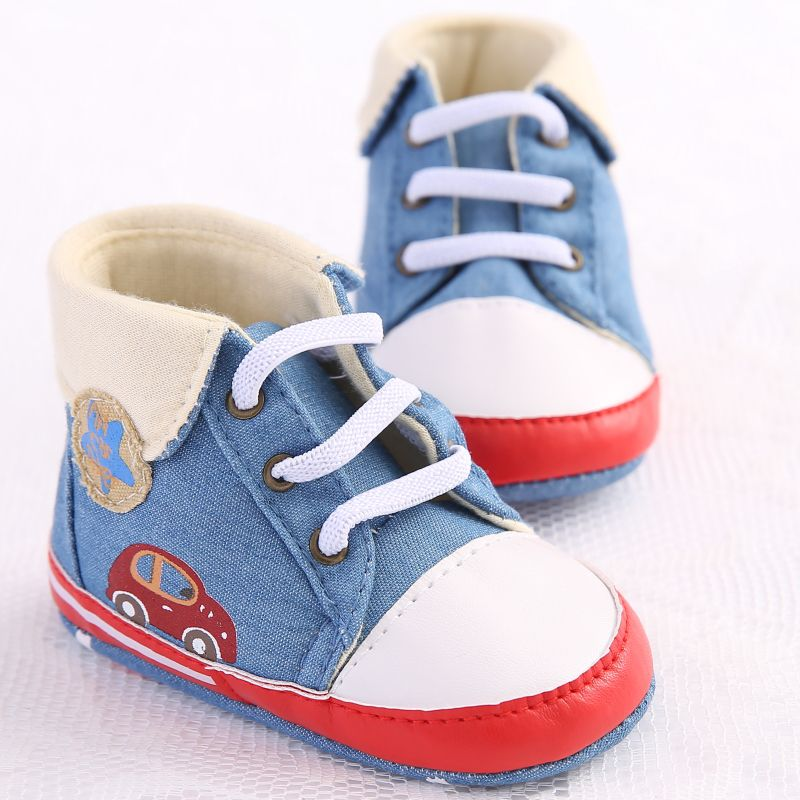Newborn Baby Boys Girls Cute Printing Cowboy Lace-Up First Walkers Sneakers Shoes Toddler Classic Casual Shoes