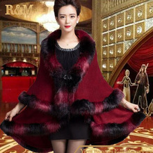 [RUNMEIFA] Autumn Winter Women's Long Cardigans Fake Fox Fur Collar Shawl Knitted Cardigan Poncho Cape finest scarf for preserve heat