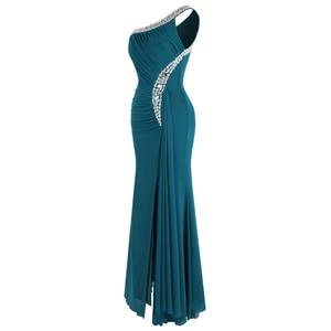 Image 3 - Angel fashions Beading One Shoulder Silt Pleat Draped Evening Dress vestido de noiva 411 Green