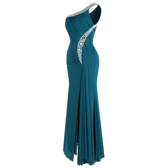 Angel-fashions Beading One Shoulder Silt Pleat Draped Evening Dress vestido de noiva 411 Green