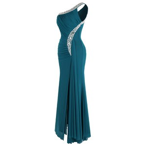 Image 3 - فستان سهرة ثنيات كتف واحد مطرز بالخرز من Angel fashions فستان سهرة vestido de noiva 411 أخضر
