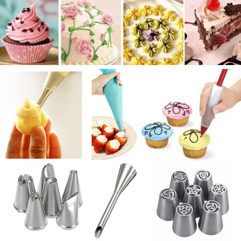 Reusable Silicone Icing Piping Cream Pastry Bag Stainless Steel Nozzle Pastry Tips Converter DIY Cake Decorating Baking Tools in Decorating Tip Sets from Home Garden