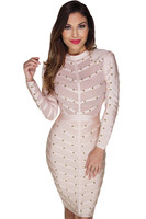 New Women S Winter Autumn Long Sleeve Studded Sheer Mesh Cocktail Party Dress High Neck Rayon
