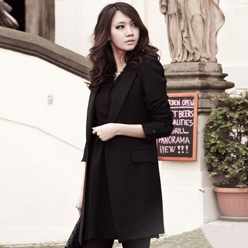 Spring Women Slim Blazer Coat 2019 New Black Fashion Casual Jacket Long Sleeve One Button Suit Ladies Blazers Work Office Wear in Blazers from Women 39 s Clothing