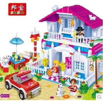 Banbao 6103 580 pcs Wedding Happy Restaurant Blocks Toys for Girls Plastic Building Block Sets Educational DIY Bricks Toys