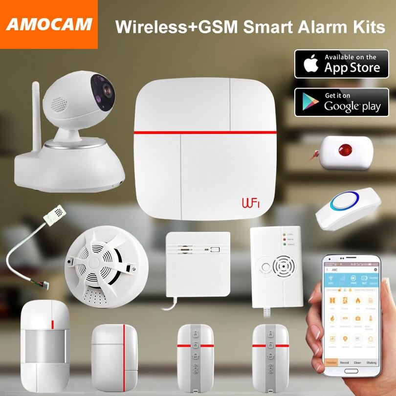 Sans fil WiFi + GSM Accueil Maison Système D'alarme multilingue Smart Sécurité Antivol Invite Vocale Intelligente Capteur Détecteur de fumée