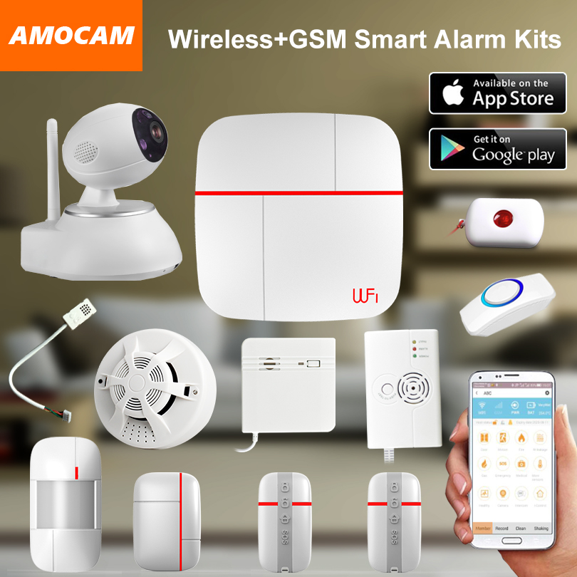 Wireless WiFi + GSM Home House Alarm System Multi language Smart Security Burglar Intelligent Voice Prompt Alarm smoke Sensor wireless smoke fire detector for wireless for touch keypad panel wifi gsm home security burglar voice alarm system