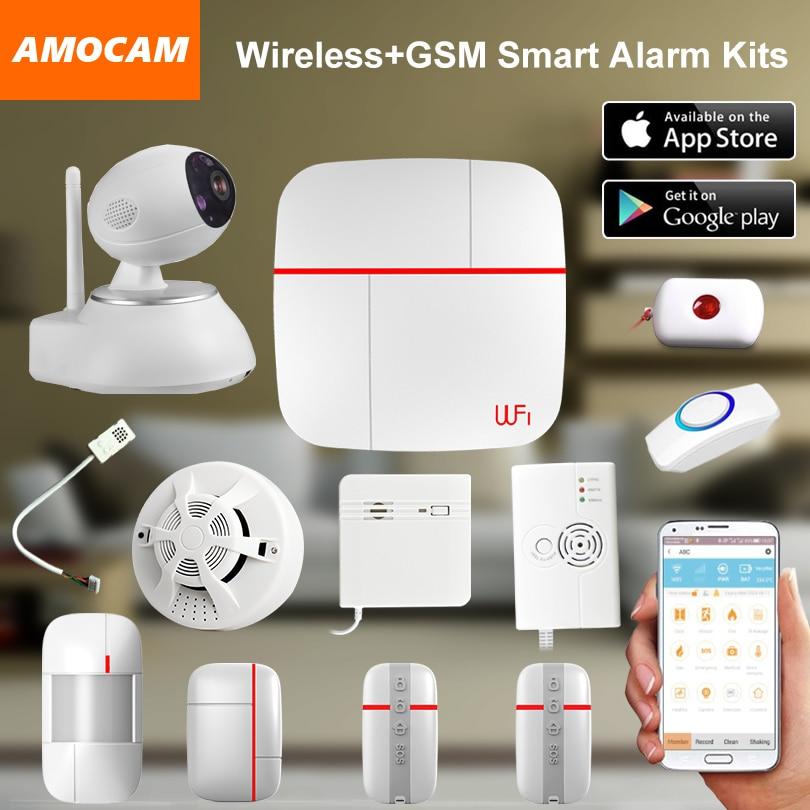 Wireless WiFi + GSM Home House Alarm System Multi language Smart Security Burglar Intelligent Voice Prompt Alarm smoke Sensor