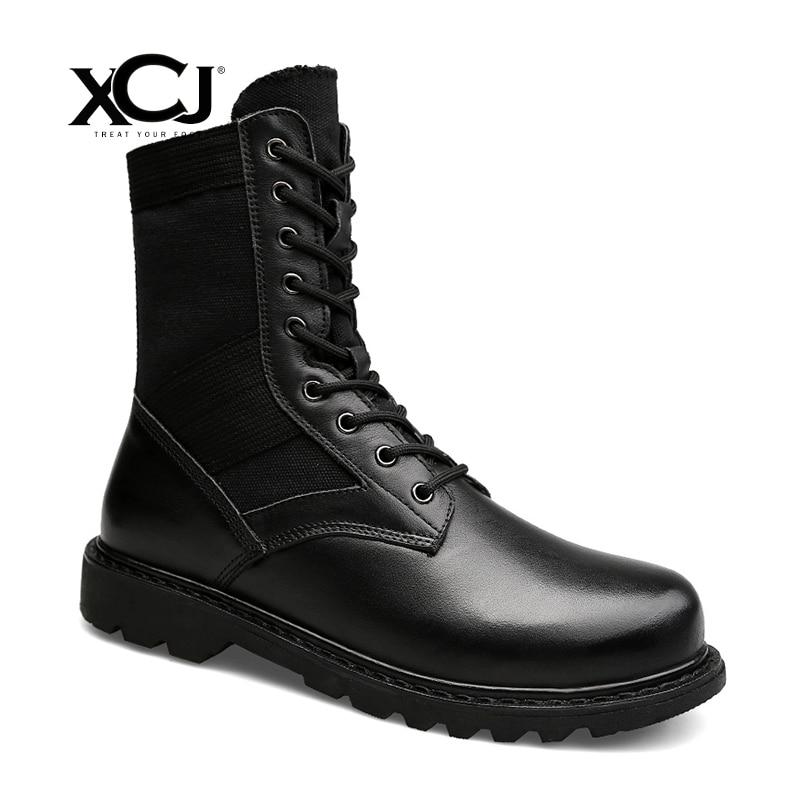 Split Leather Men Shoes Brand Winter Boots For Men Winter Shoes Warm Casual Shoes Plush Flats Spring Autumn Plus Big Size XCJ
