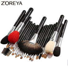 Zoreya marca 26 pçs luxo natural cabra cabelo ventilador escovas de maquiagem profissional cosméticos maquiagem pincel conjunto beleza sombra dos olhos escovas