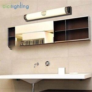 Image 5 - L48cm L63cm L83cm الصينية led مرآة مصابيح مصابيح إضاءة الرجعية الحمام الجدار مصباح البرونزية الأسود الأوروبي المكياج مستحضرات التجميل الخفيفة