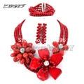 Flor Sistemas de La Joyería de Coral Perlas Africanas Boda Nigeriano Beads Africanos Joyería Establece Coral Beads Necklace Sets L1016