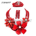 Flower African Coral Beads Jewelry Sets Nigerian Wedding African Beads Jewelry Sets Coral Beads Necklace Sets   L1016