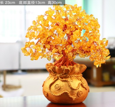 natural citrine quartz crystal gem money tree in for wealth money bay Free shipping