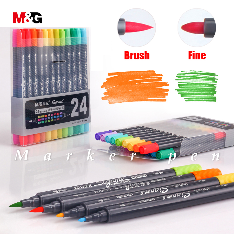 M&G two head Watercolor brush markers set for drawing colored manga sketching gift marker pen for school kid art design suppies dainayw 12 cool grey colors marker pen grayscale dual head art markers set for manga design drawing school student supplies
