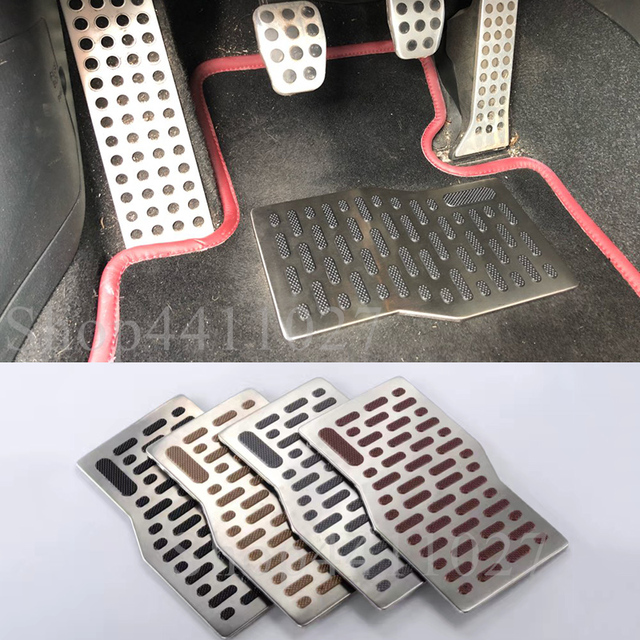Car Aluminum Pad Plate Pedal Foot Rest Carpet Floor Mats For Mini