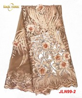 African French Tulle Net Lace With 3D Applique Flower Guipure Lace Fabric Nigerian Cloth Sewing Applique Embroidery Laces JLN99