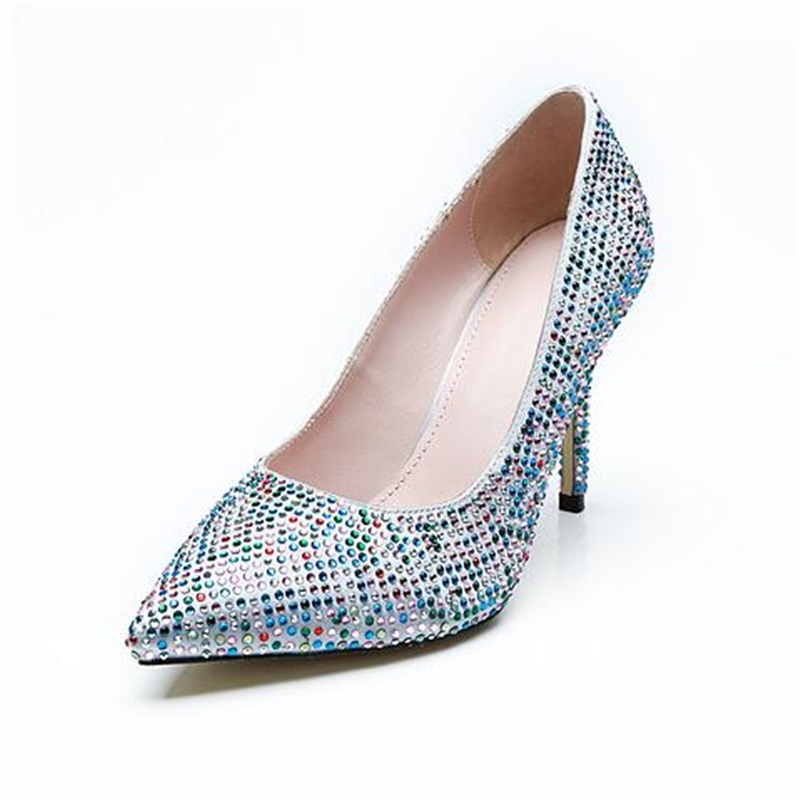 Partie Strass couleur Multi Profonde Picture Bling Mince Robe Bout Sexy Slip Haut Pompes Peu on 2018 Chaussures Talon Pointu As Femme 6yY7vbfImg