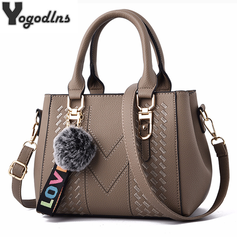 Embroidery Messenger Bags Women Leather Handbags Bags For Women 2019 Sac A Main Ladies Hair Ball Hand Bag