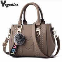 Embroidery Messenger Bags Women Leather Handbags Bags for Women 2019 Sac a Main Ladies hair ball Hand Bag