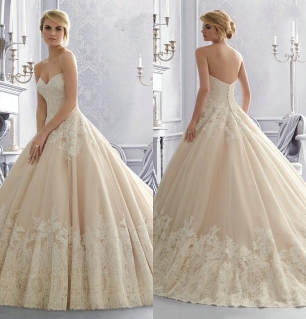 2015 Romantic Alencon Lace Tulle Vestido De Noiva Princesa Vintage ...
