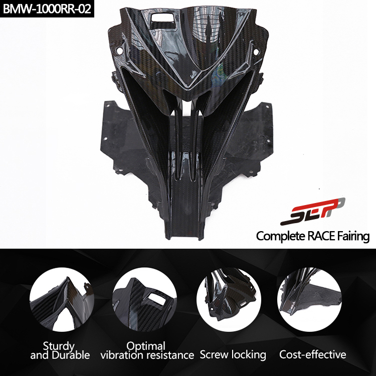 SMOKU Motorcycle Carbon Fiber Head Shell Upper Front Nose Air Intake Ram Full Fairing Kits Covers For BMW S1000RR 2015-2017 image