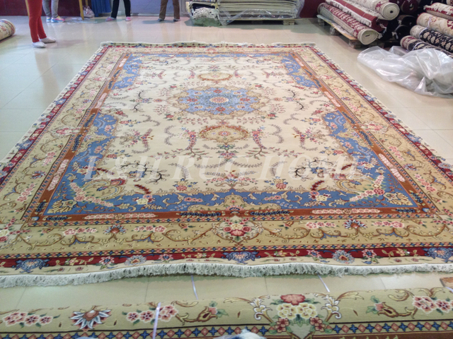 Free shipping 9'X12' 160 Line Hand-knotted Wool and Silk Oriental Persian Rug handmade persian carpet