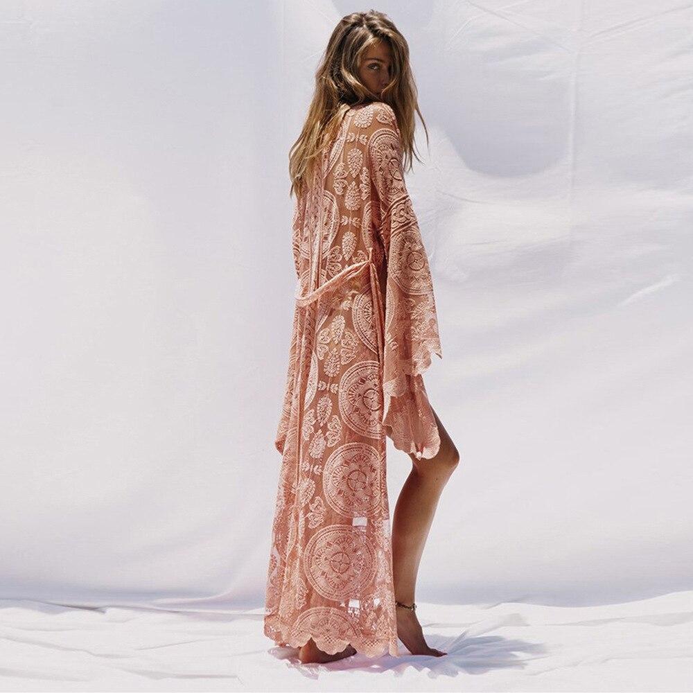 FOLOBE mode dentelle Cardigan femmes Flare manches Floral voir à travers lâche Blouse bohème Maxi longue plage chemise de grande taille