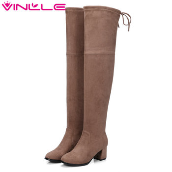 VINLLE 2020 Women Boot Over The Knee Boots Square High Heel PU leather Pointed Toe Zipper Ladies Motorcycle Shoes Size 34-43