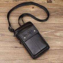 Bolsa de ombro de couro genuíno masculina, pequena bolsa quadrada multifuncional retrô de escritório para celular st st