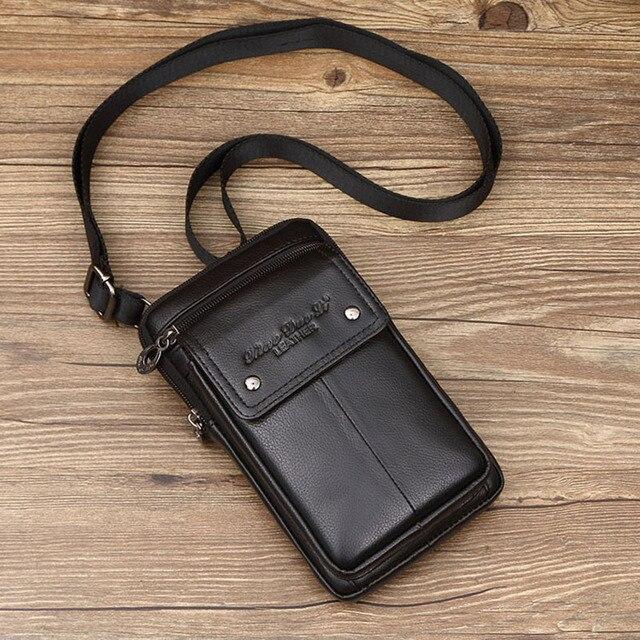 Erkek hakiki deri omuz çantaları küçük kare yüksek kaliteli çok fonksiyonlu askılı çanta Retro İş ofis cep telefonu St