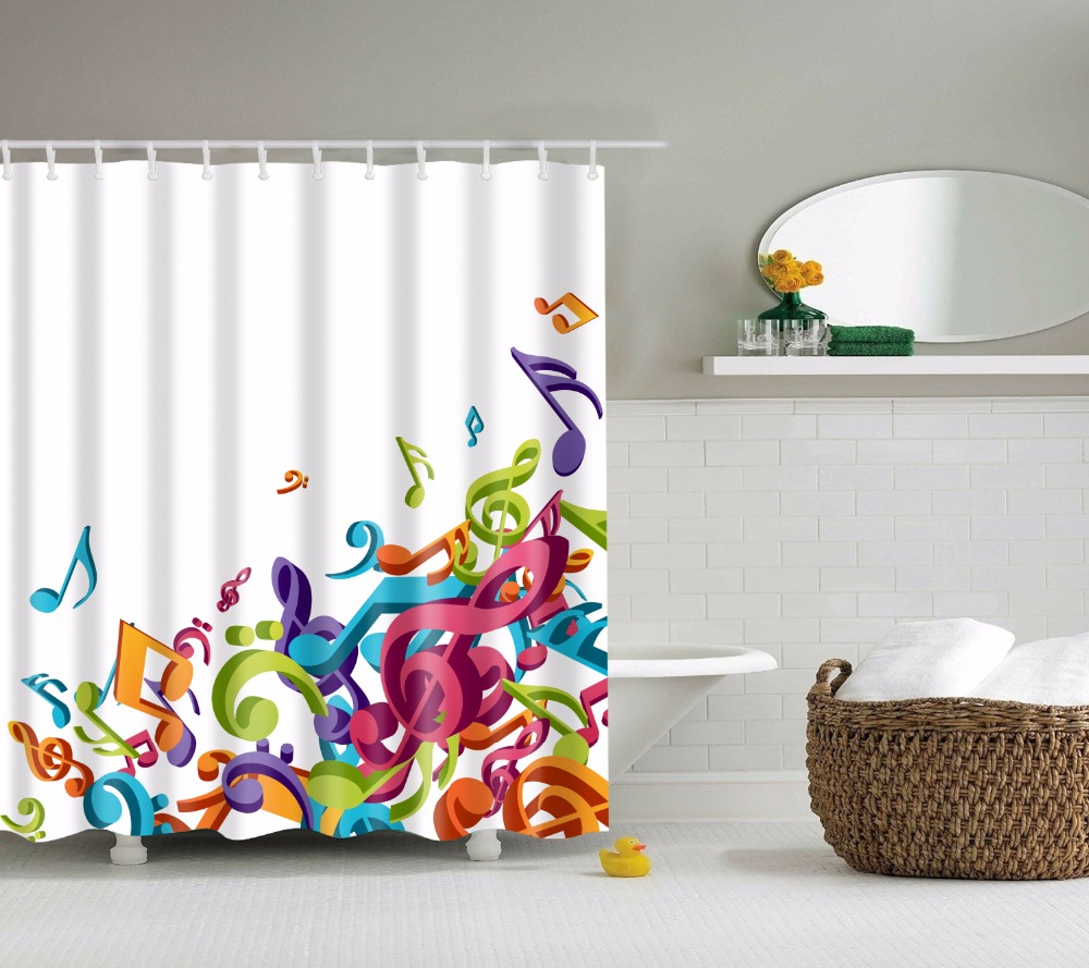 Musical Note Printed Polyester Waterproof Shower Curtain (include 12 Pcs  Hooks) 180*180cm
