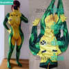 Free Shipping DHL 2018 3D Printing X Men Rogue Cosplay Costume Lycra Elastic Sexy Catsuit Marvel