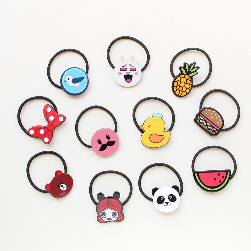 Novelty Hot Sale Girls Cartoon character animal Character Hair Accessories Fashion Kids Candy Rubber Bands Headwear
