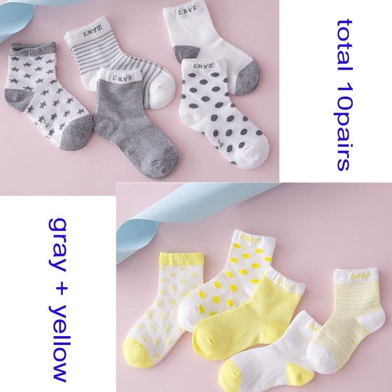 10 Pair 20PCS lot Baby Socks Neonatal Autumn Mesh Cotton Polka dots plain stripes Kids Girls