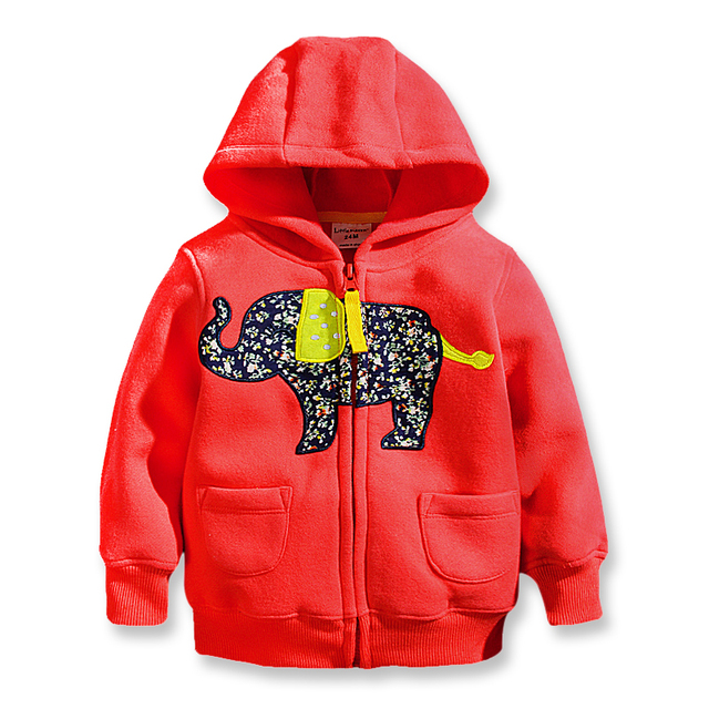 Fall Children's Jackets Long Sleeve Hoody Girl Fleece with Zipper Animal Patch Boys Hoodie High Quality Hoody for Girls 2- 7 Yrs